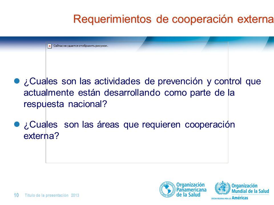 Requerimientos de cooperación externa