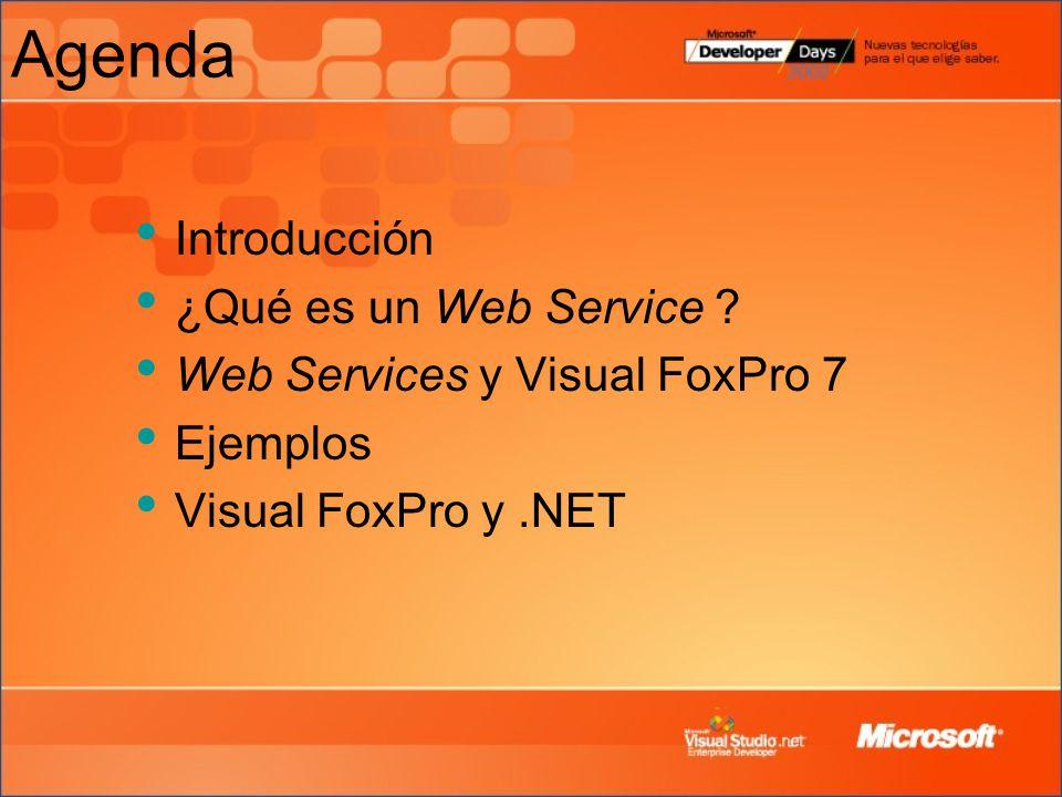 Agenda Introducción ¿Qué es un Web Service