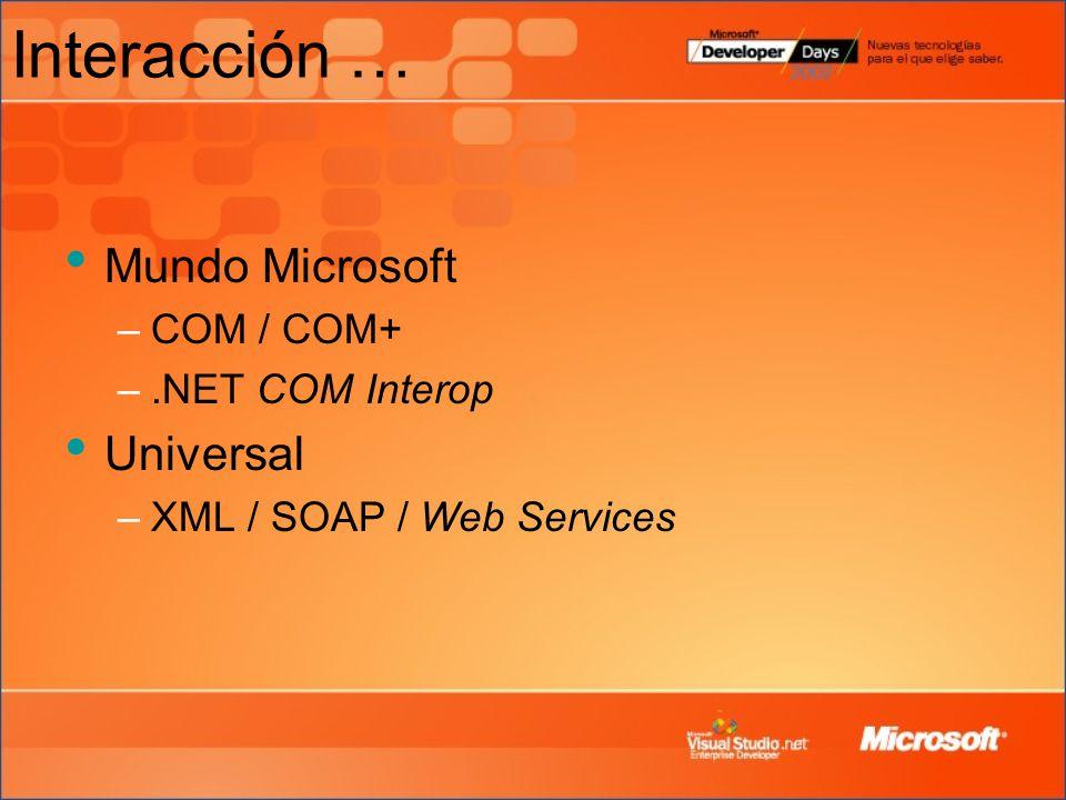 Interacción … Mundo Microsoft Universal COM / COM+ .NET COM Interop
