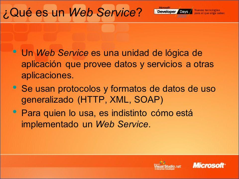 ¿Qué es un Web Service Un Web Service es una unidad de lógica de aplicación que provee datos y servicios a otras aplicaciones.
