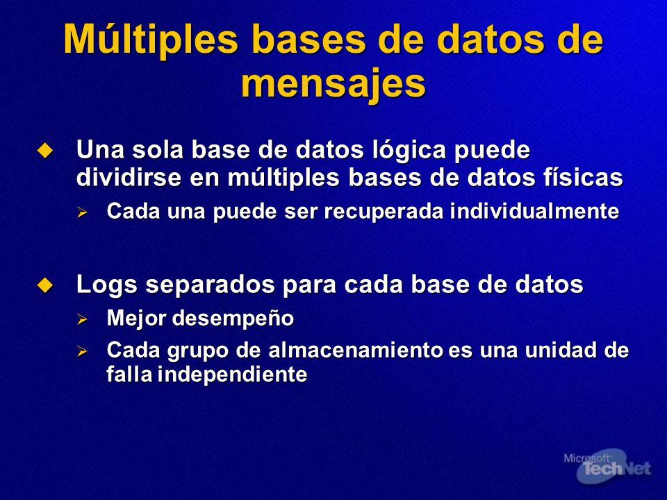 Múltiples bases de datos de mensajes