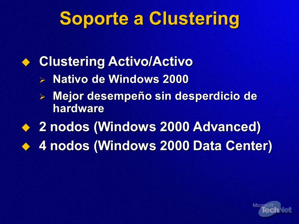 Soporte a Clustering Clustering Activo/Activo