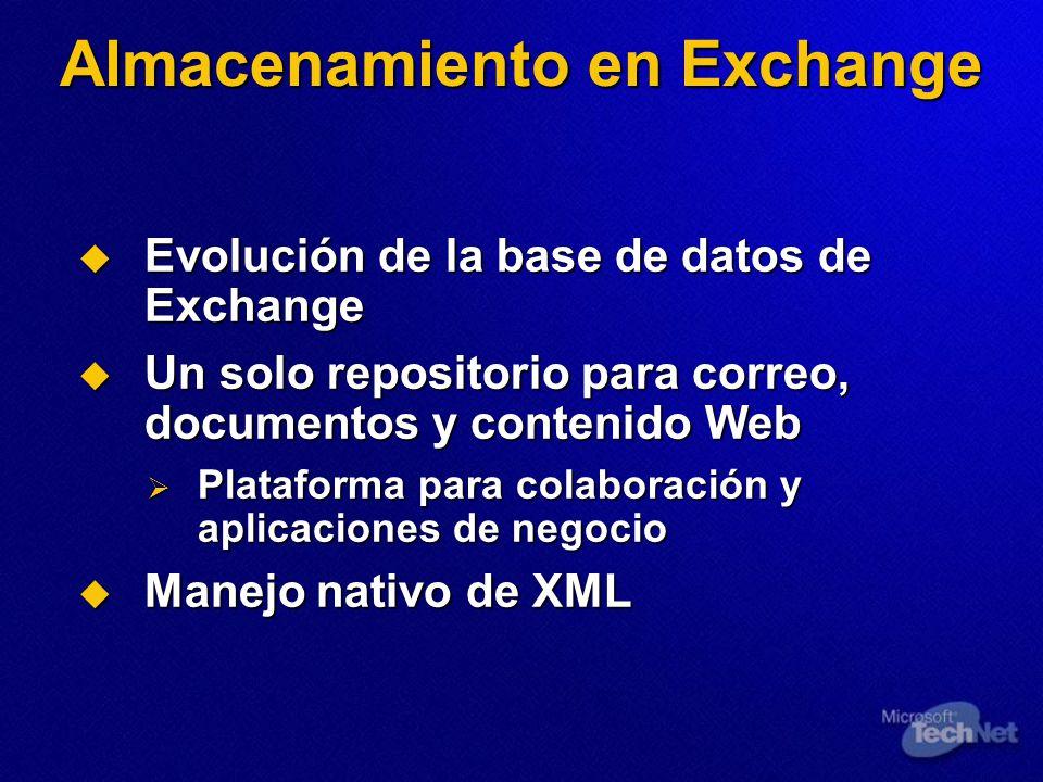 Almacenamiento en Exchange