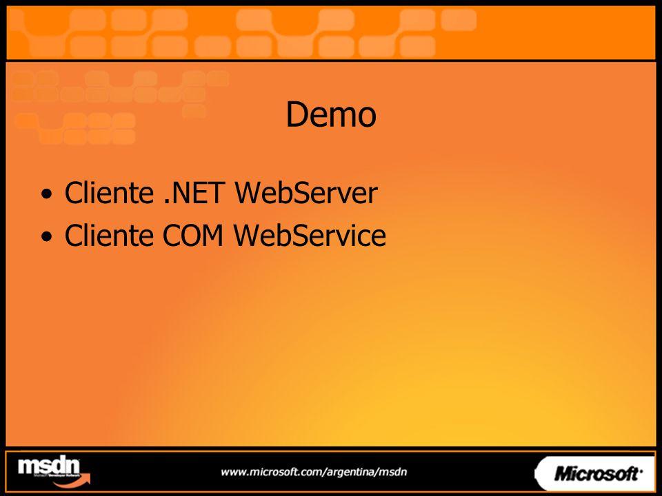 Demo Cliente .NET WebServer Cliente COM WebService