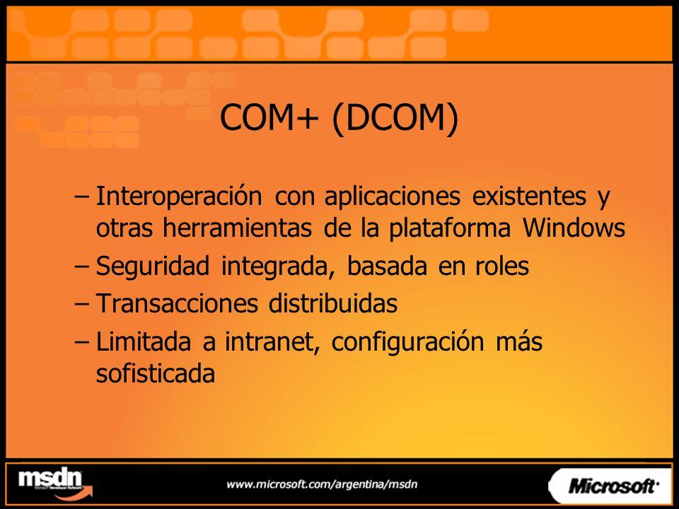 COM+ (DCOM) Interoperación con aplicaciones existentes y otras herramientas de la plataforma Windows.