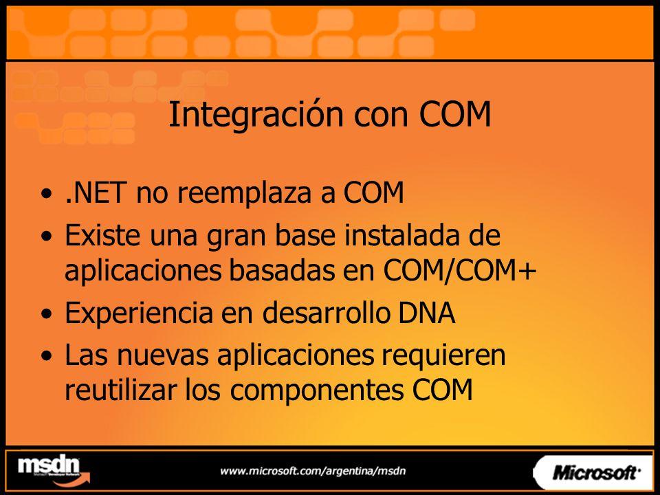 Integración con COM .NET no reemplaza a COM