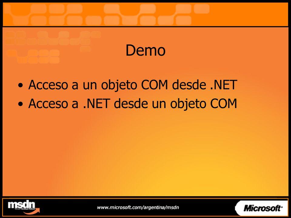 Demo Acceso a un objeto COM desde .NET
