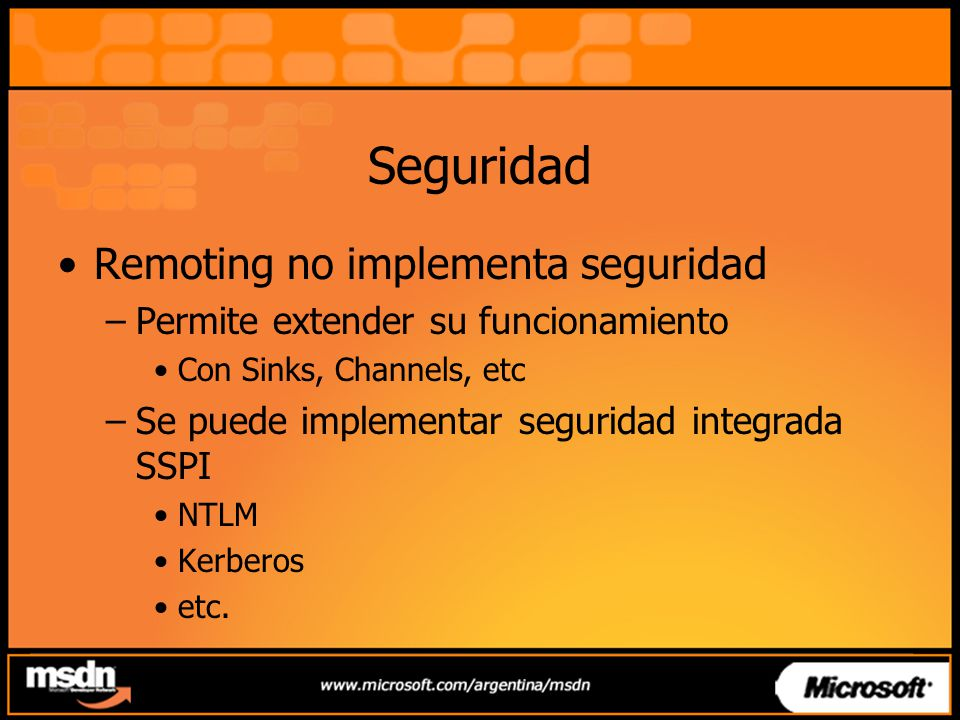 Seguridad Remoting no implementa seguridad