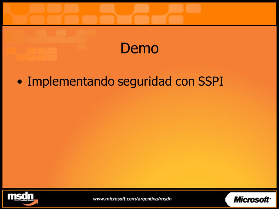Demo Implementando seguridad con SSPI