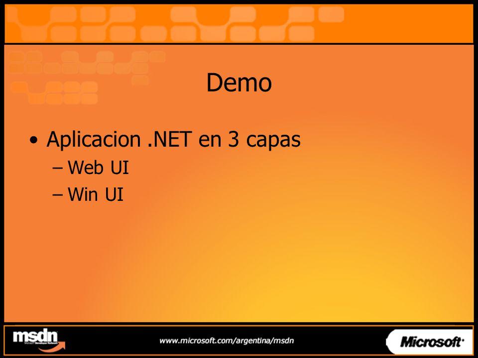 Demo Aplicacion .NET en 3 capas Web UI Win UI