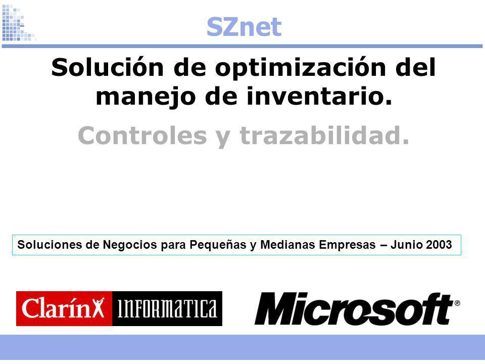 SZnet Solución de optimización del manejo de inventario.