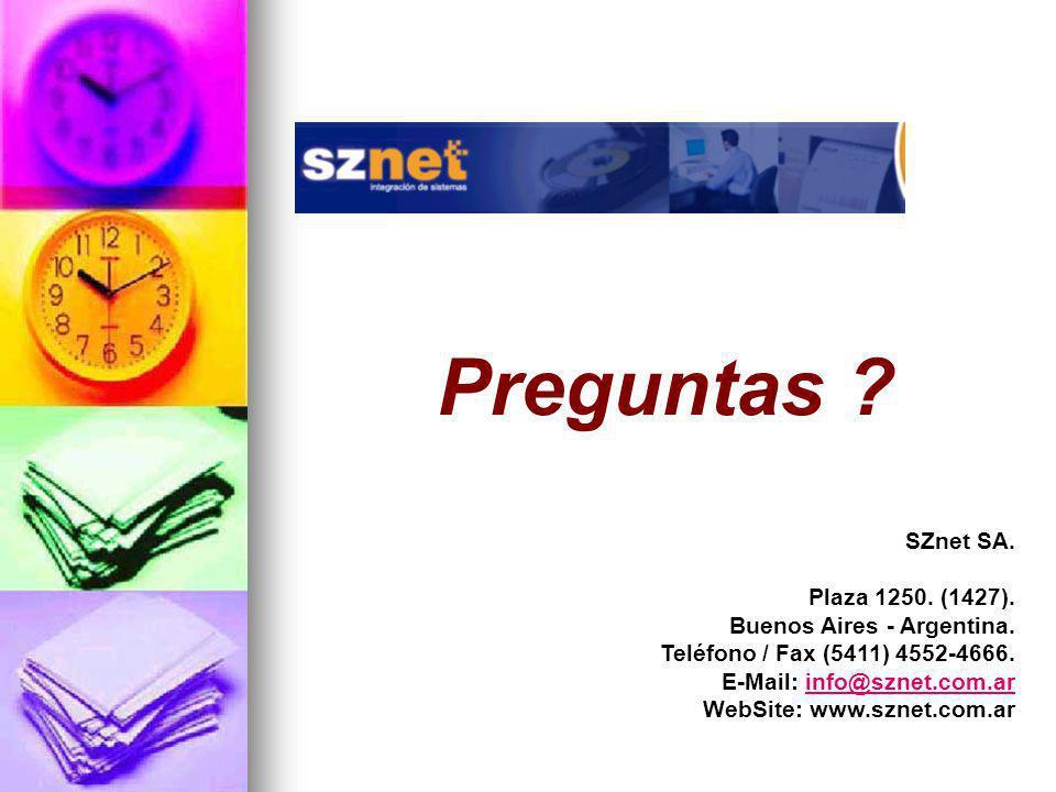 Preguntas SZnet SA. Plaza 1250. (1427). Buenos Aires - Argentina.