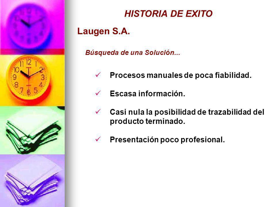 HISTORIA DE EXITO Laugen S.A. Procesos manuales de poca fiabilidad.