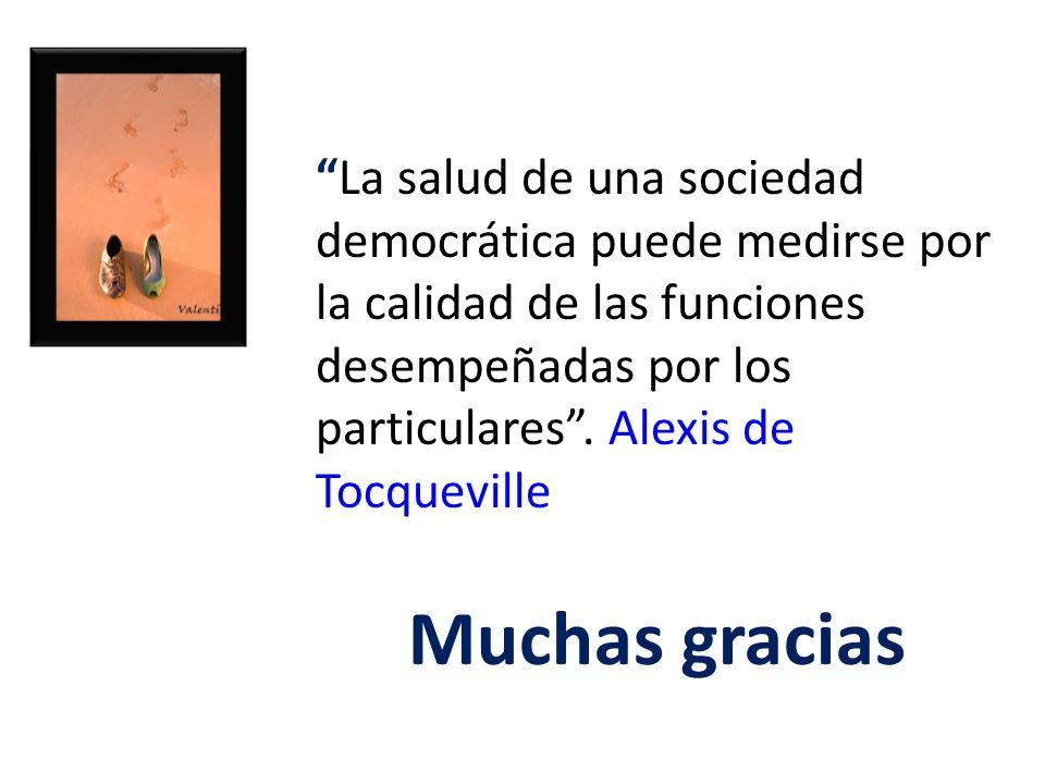 La salud de una sociedad democrática puede medirse por la calidad de las funciones desempeñadas por los particulares . Alexis de Tocqueville