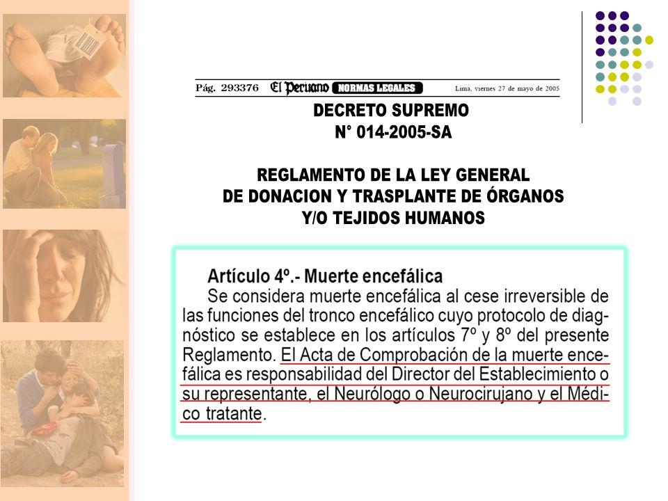 REGLAMENTO DE LA LEY GENERAL DE DONACION Y TRASPLANTE DE ÓRGANOS