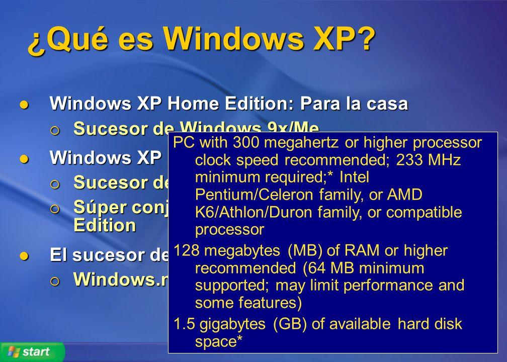 ¿Qué es Windows XP Windows XP Home Edition: Para la casa