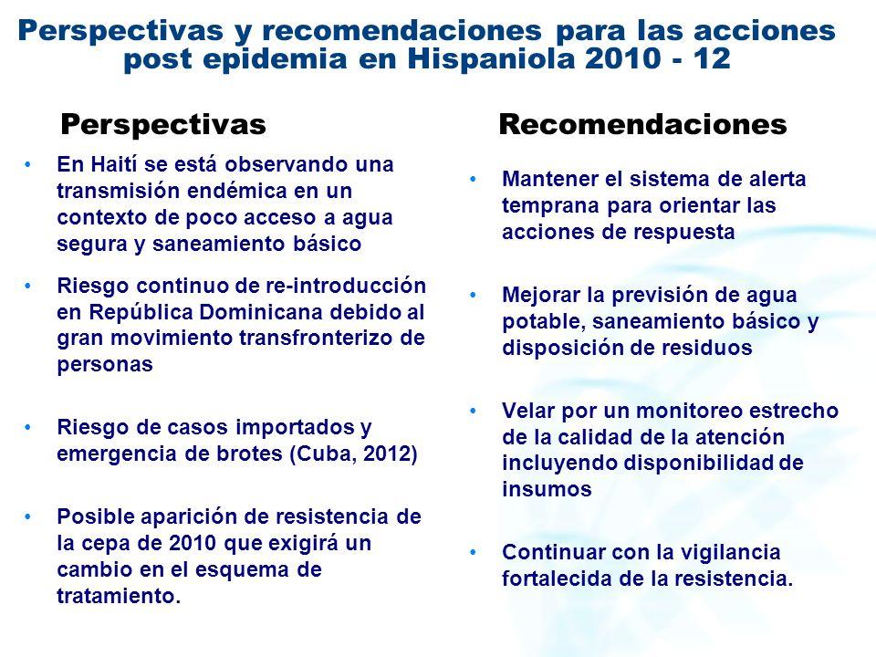 Perspectivas y recomendaciones para las acciones post epidemia en Hispaniola 2010 - 12