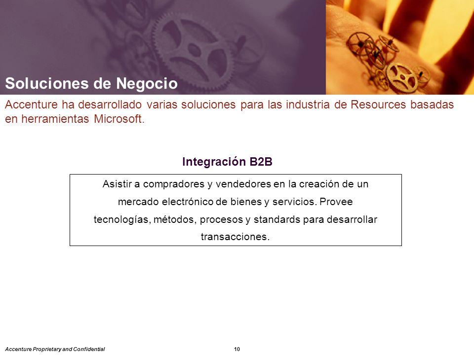 Soluciones de Negocio Accenture ha desarrollado varias soluciones para las industria de Resources basadas en herramientas Microsoft.