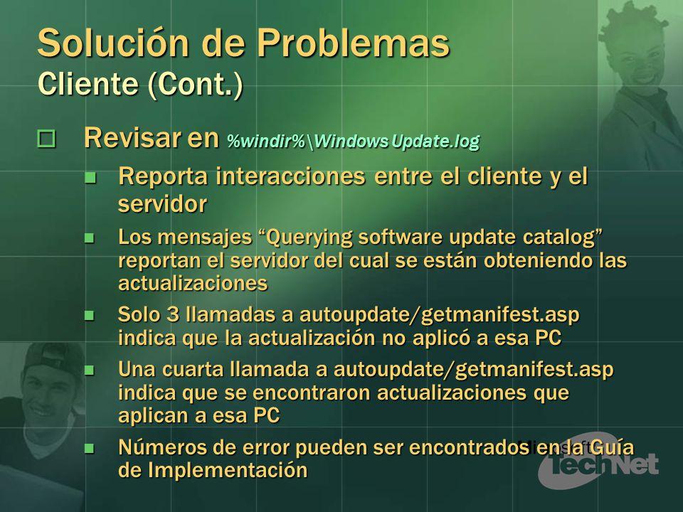 Solución de Problemas Cliente (Cont.)