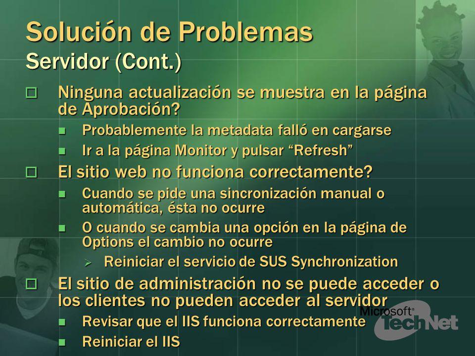 Solución de Problemas Servidor (Cont.)