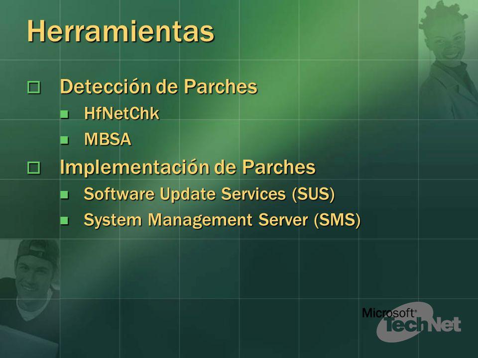 Herramientas Detección de Parches Implementación de Parches HfNetChk