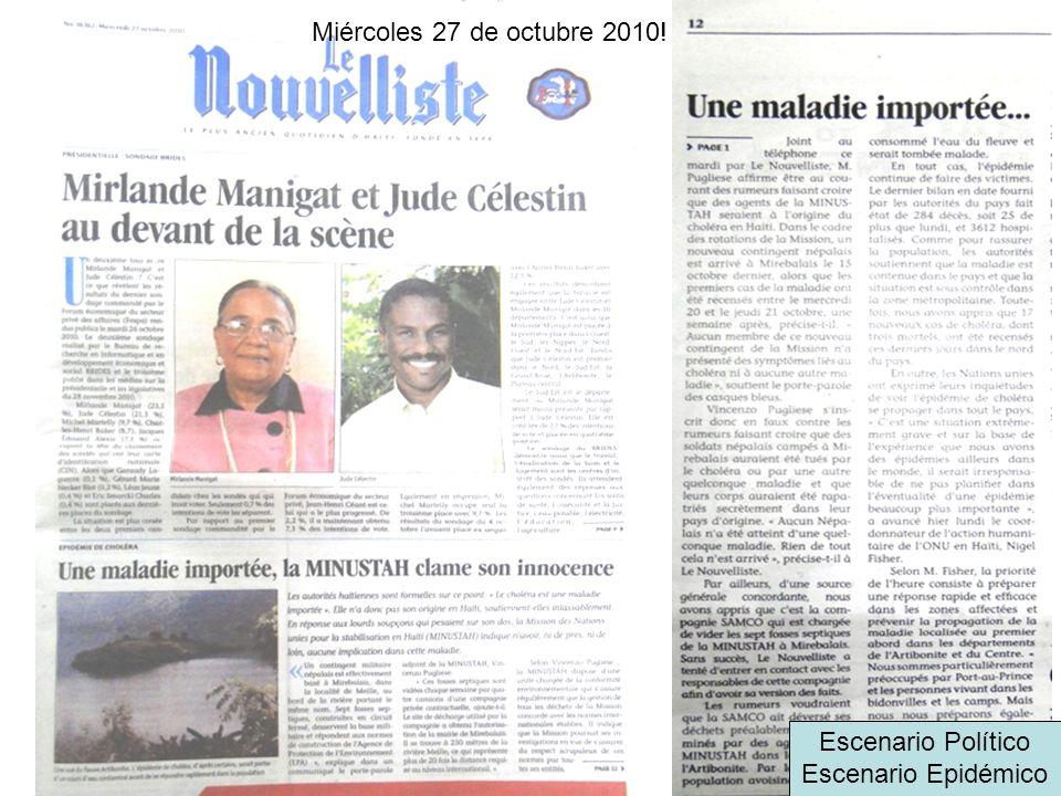 Miércoles 27 de octubre 2010! Escenario Político Escenario Epidémico