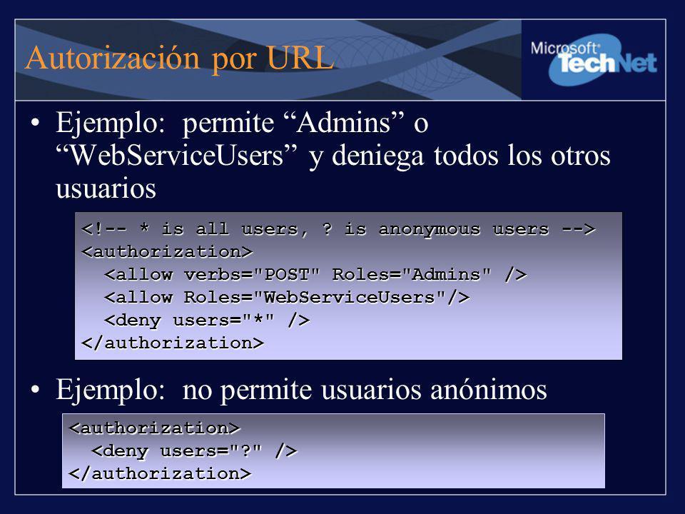 Autorización por URL Ejemplo: permite Admins o WebServiceUsers y deniega todos los otros usuarios.