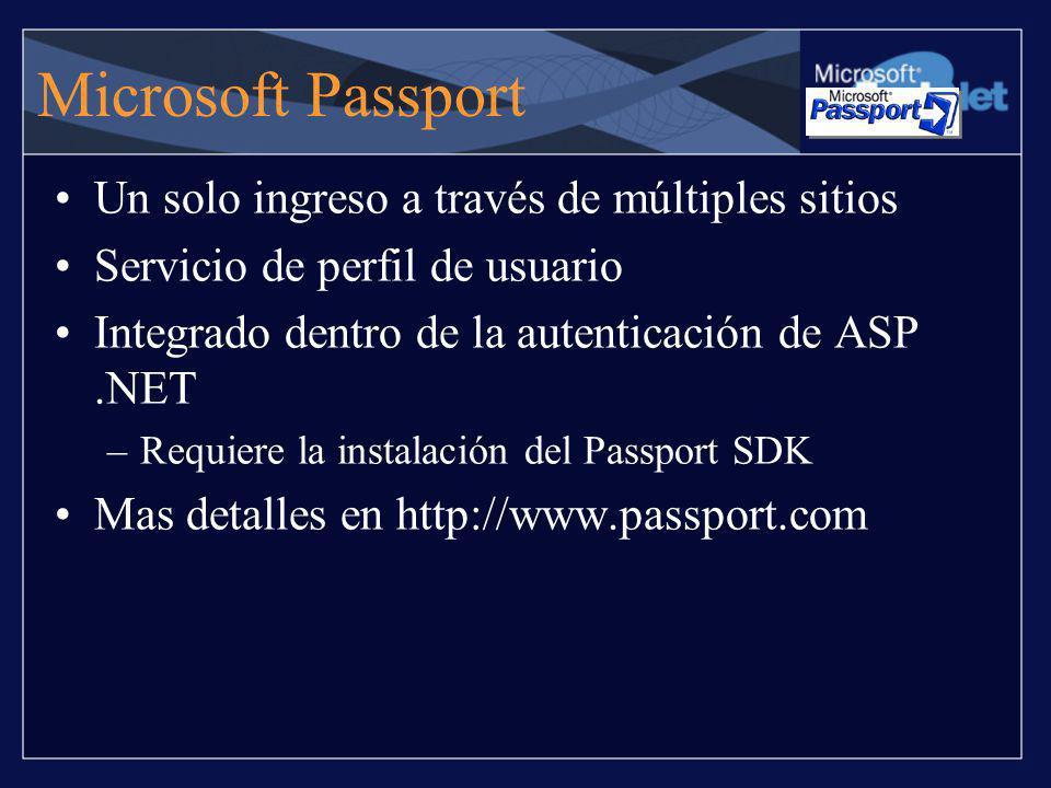 Microsoft Passport Un solo ingreso a través de múltiples sitios