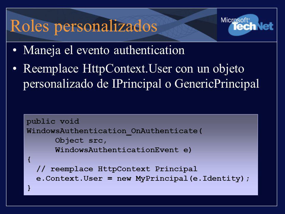 Roles personalizados Maneja el evento authentication