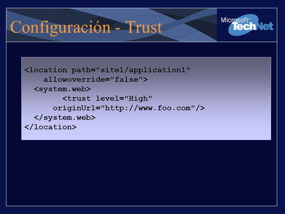 Configuración - Trust <location path= site1/application1