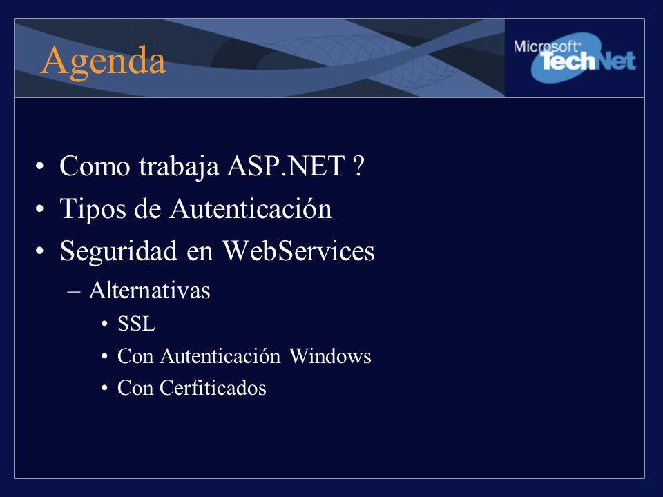 Agenda Como trabaja ASP.NET Tipos de Autenticación