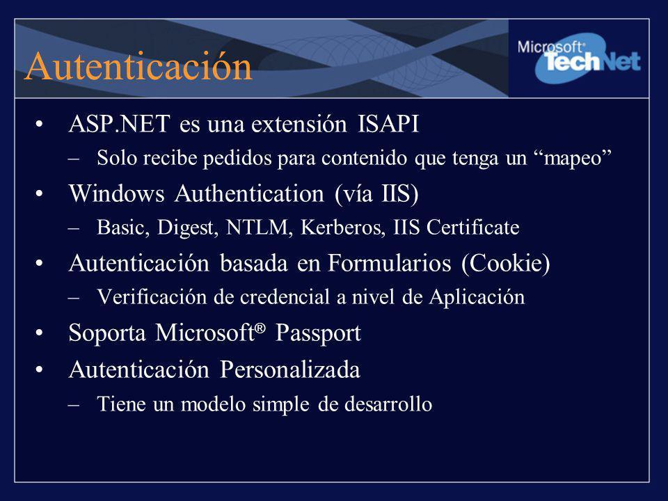 Autenticación ASP.NET es una extensión ISAPI