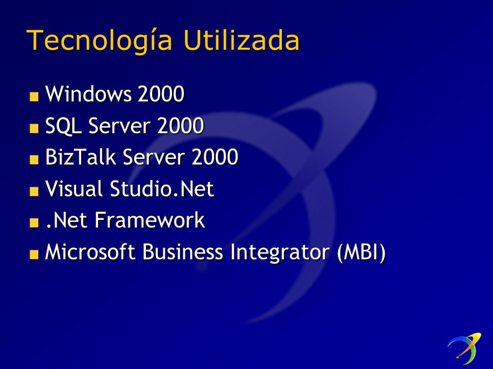Tecnología Utilizada Windows 2000 SQL Server 2000 BizTalk Server 2000