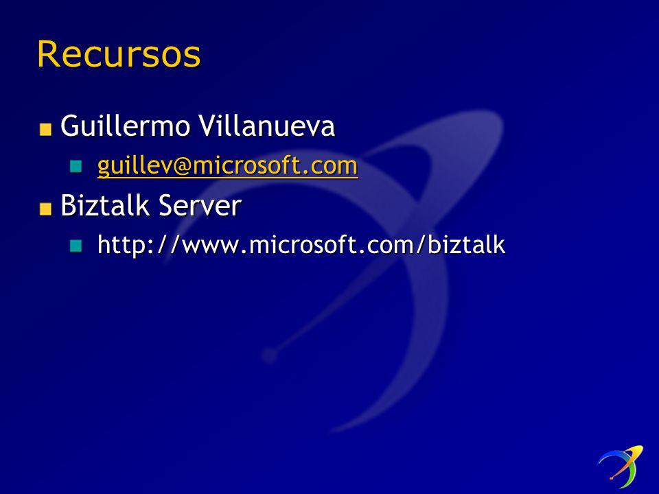 Recursos Guillermo Villanueva Biztalk Server guillev@microsoft.com