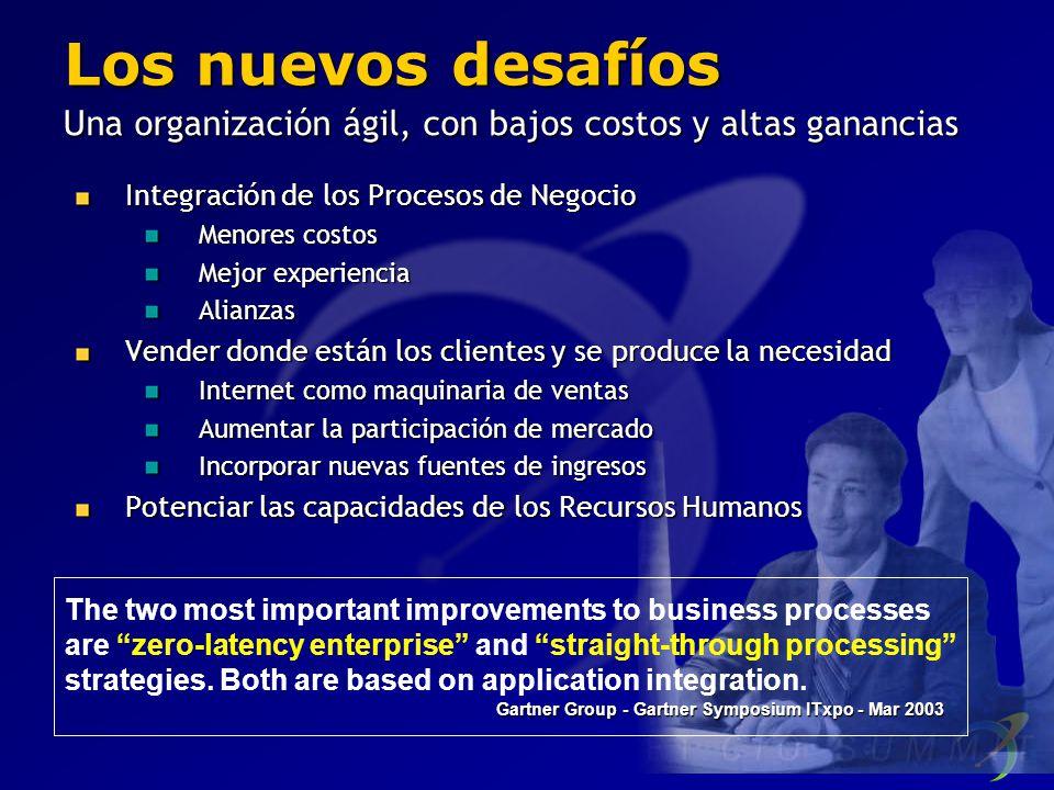 Los nuevos desafíos Una organización ágil, con bajos costos y altas ganancias. Integración de los Procesos de Negocio.