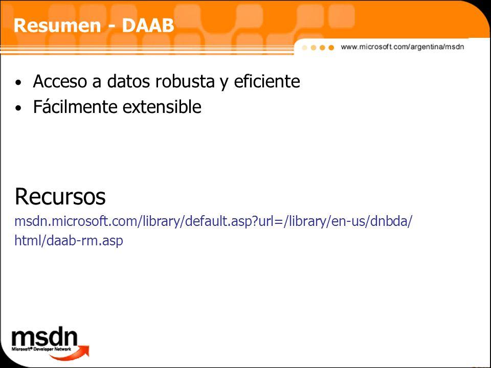 Recursos Resumen - DAAB Acceso a datos robusta y eficiente