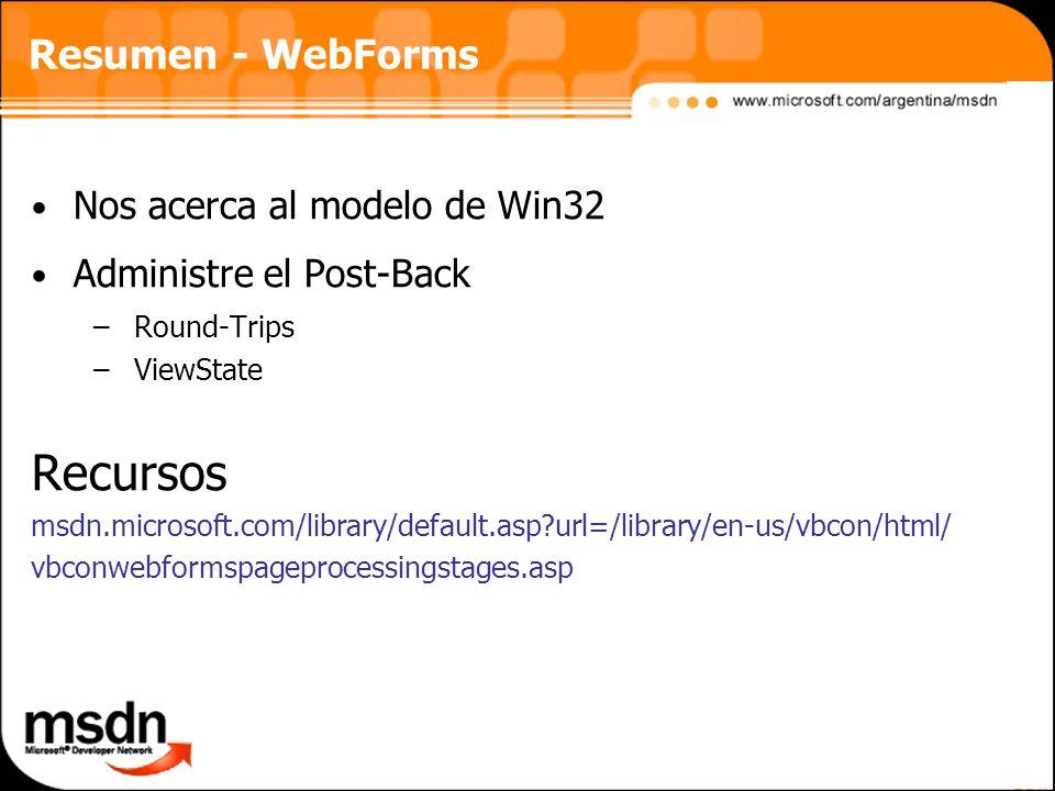 Recursos Resumen - WebForms Nos acerca al modelo de Win32