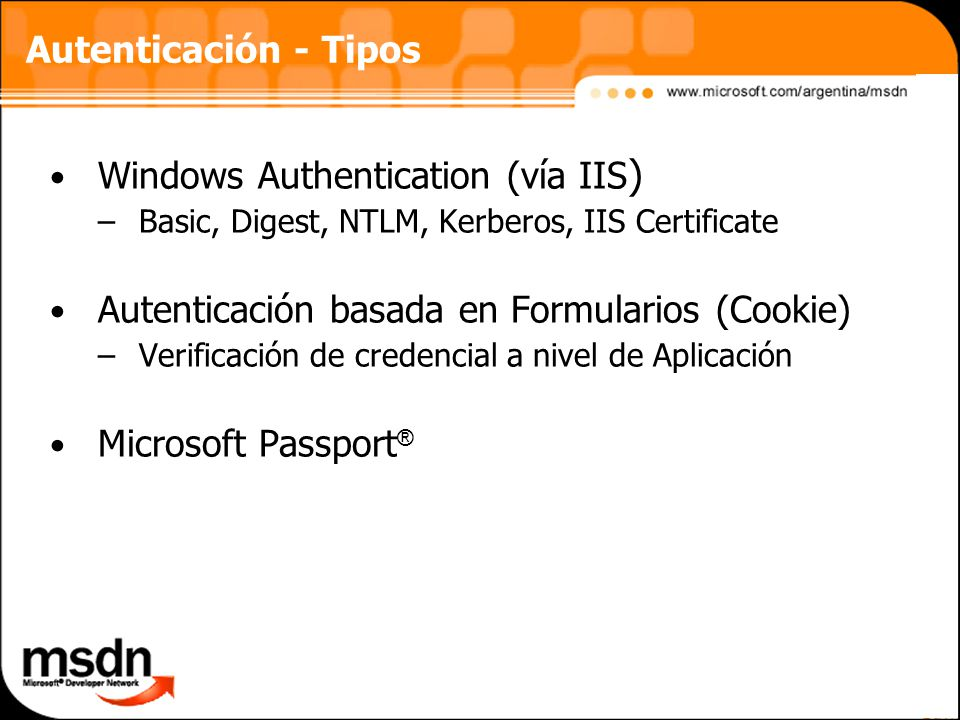 Windows Authentication (vía IIS)