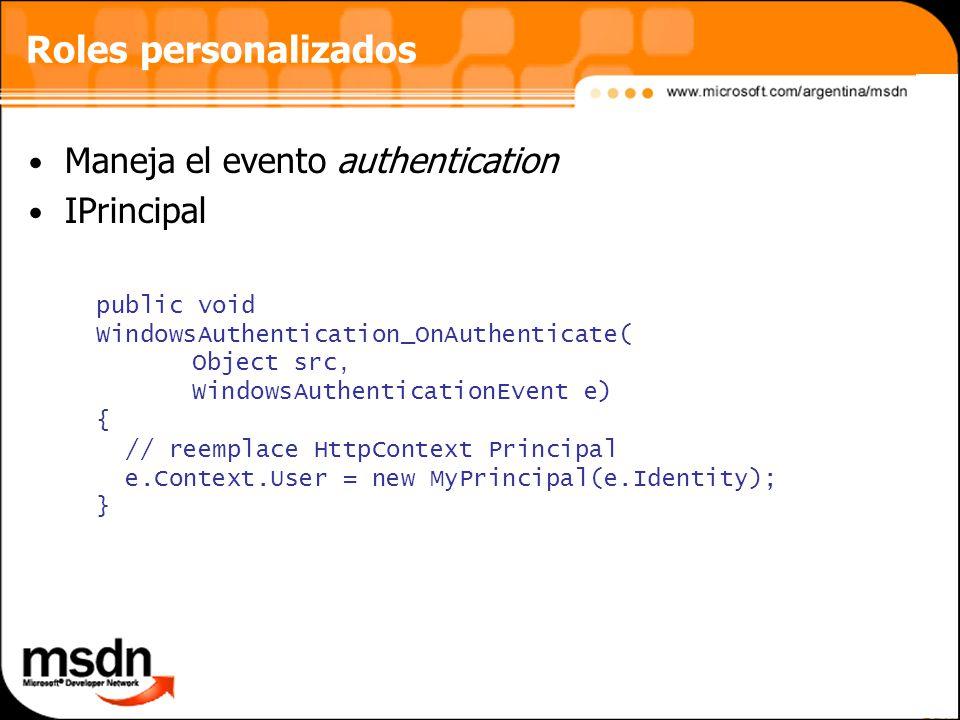 Roles personalizados Maneja el evento authentication IPrincipal