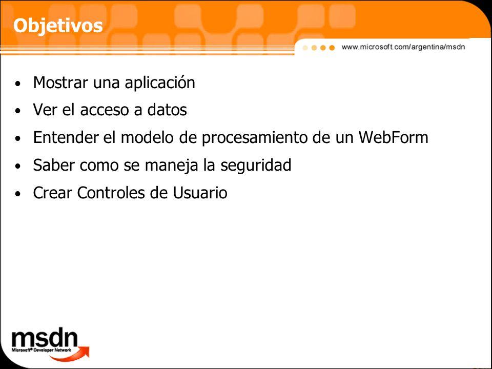 Objetivos Mostrar una aplicación Ver el acceso a datos
