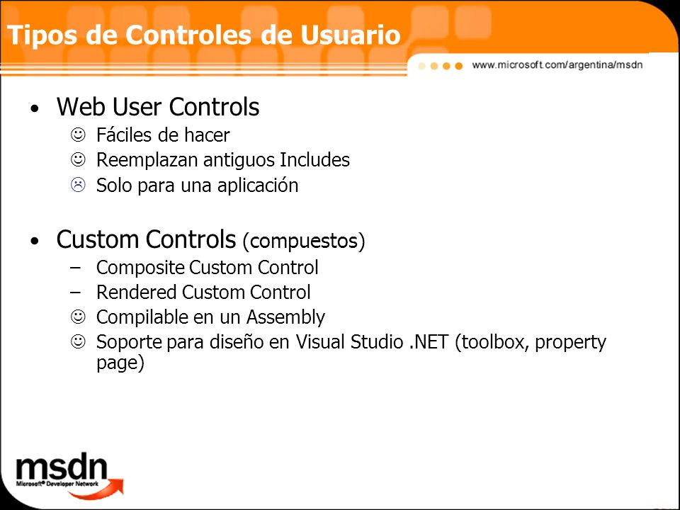 Tipos de Controles de Usuario