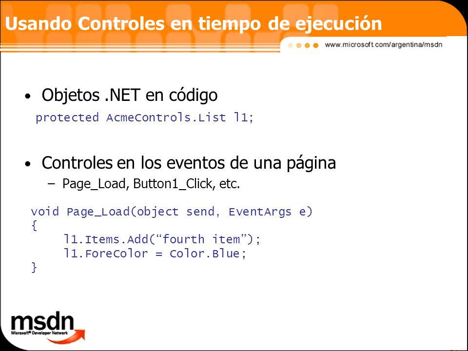 Usando Controles en tiempo de ejecución