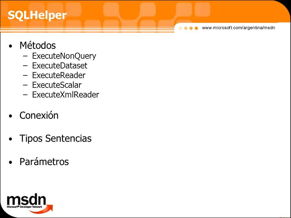 SQLHelper Métodos Conexión Tipos Sentencias Parámetros ExecuteNonQuery