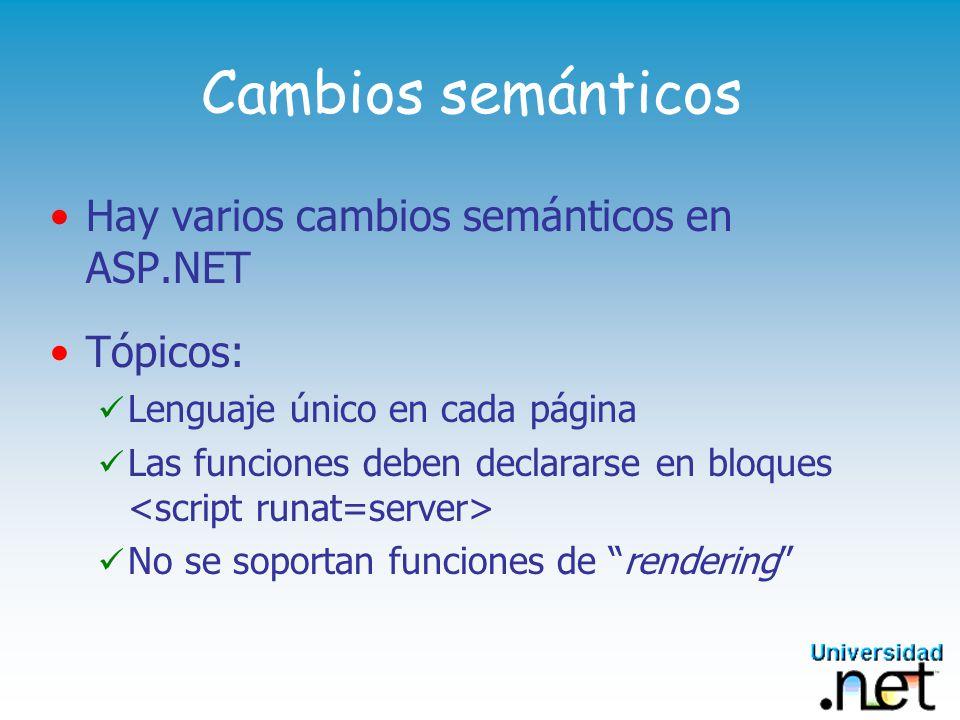 Cambios semánticos Hay varios cambios semánticos en ASP.NET Tópicos: