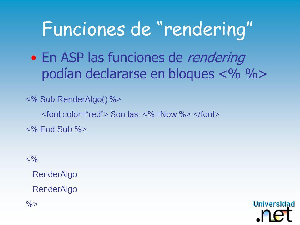 Funciones de rendering