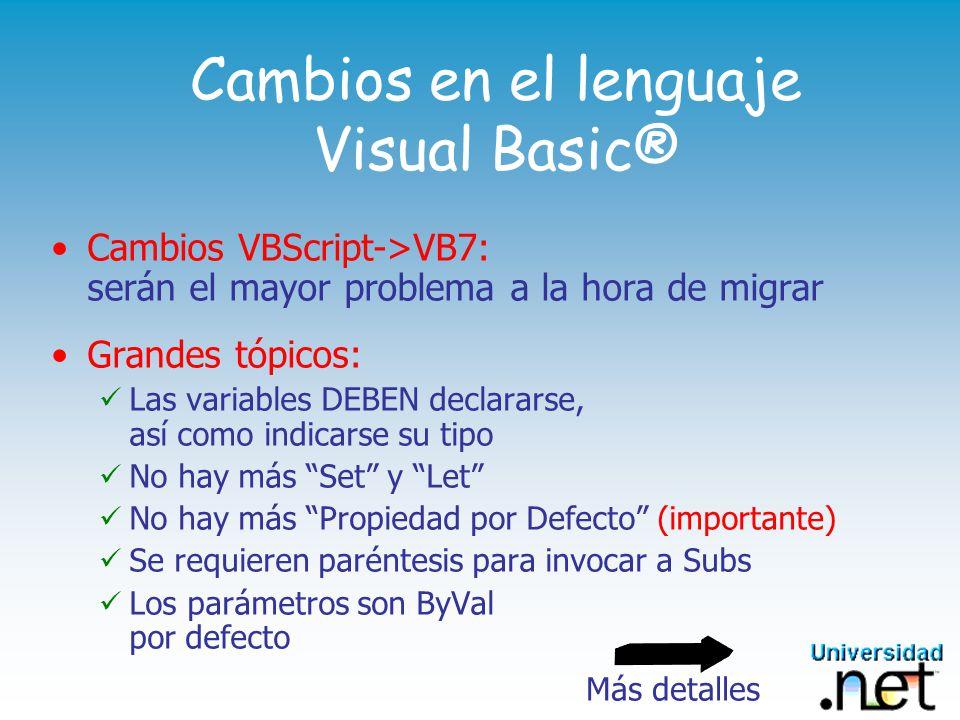 Cambios en el lenguaje Visual Basic®