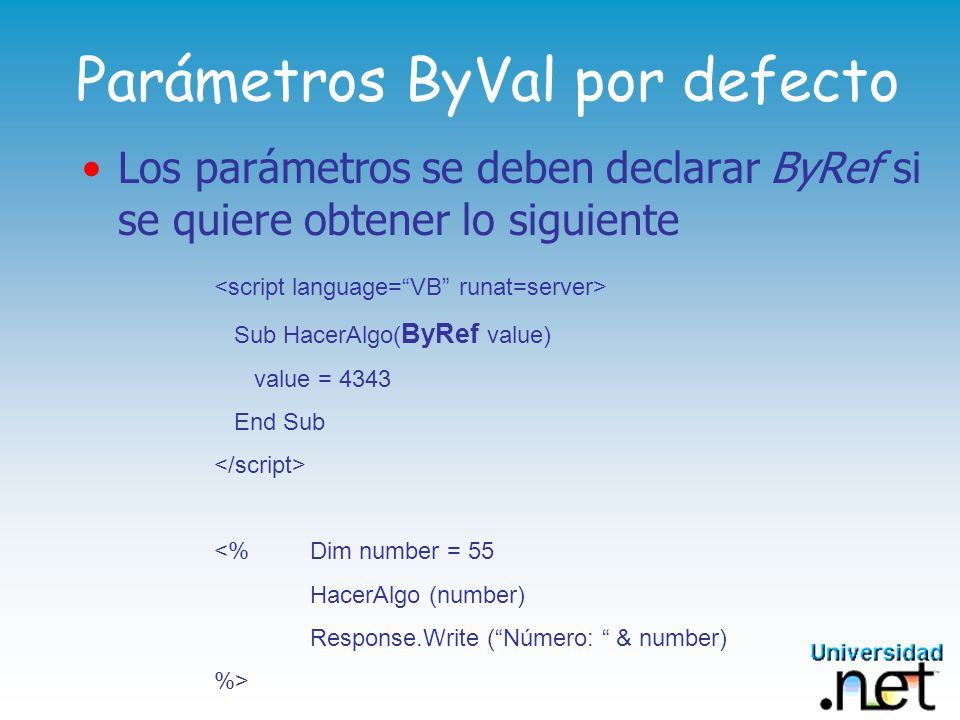 Parámetros ByVal por defecto