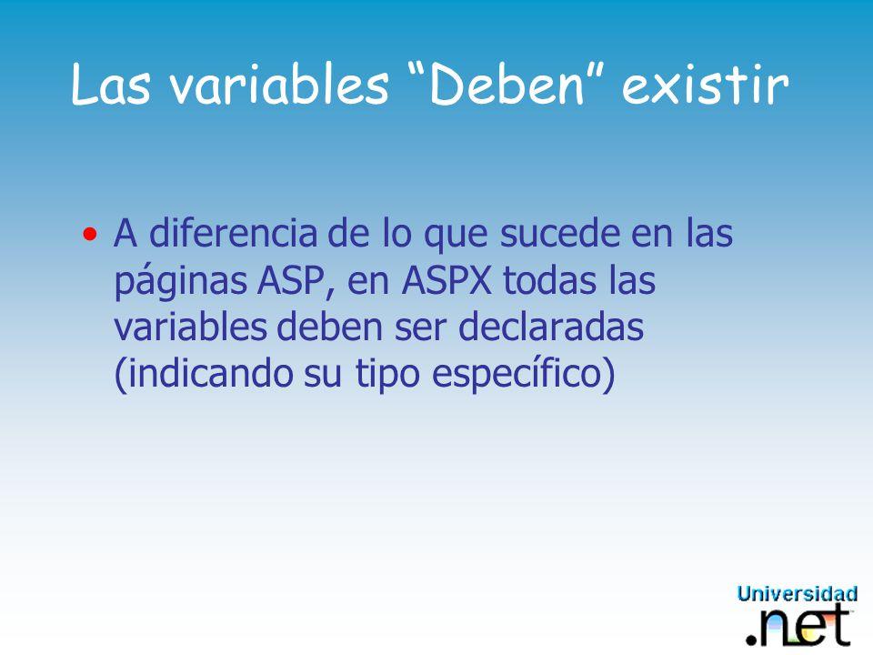 Las variables Deben existir