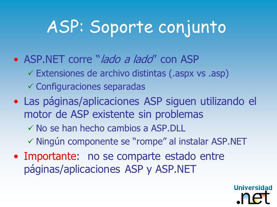 ASP: Soporte conjunto ASP.NET corre lado a lado con ASP