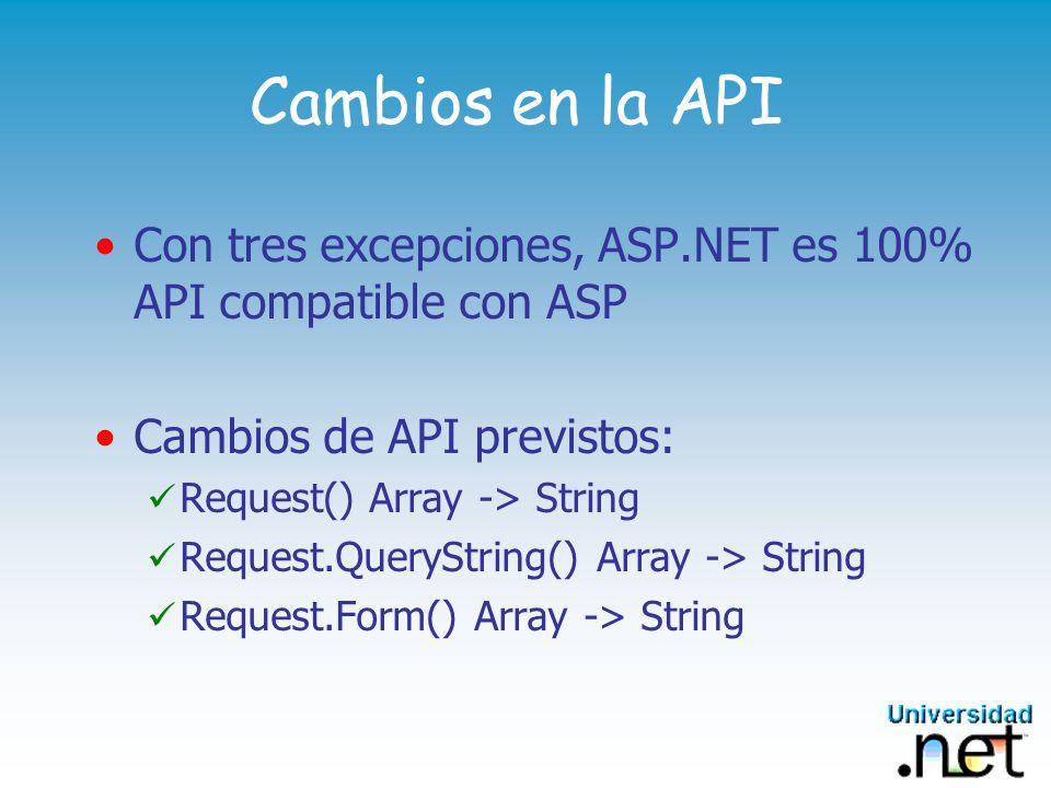 Cambios en la API Con tres excepciones, ASP.NET es 100% API compatible con ASP. Cambios de API previstos: